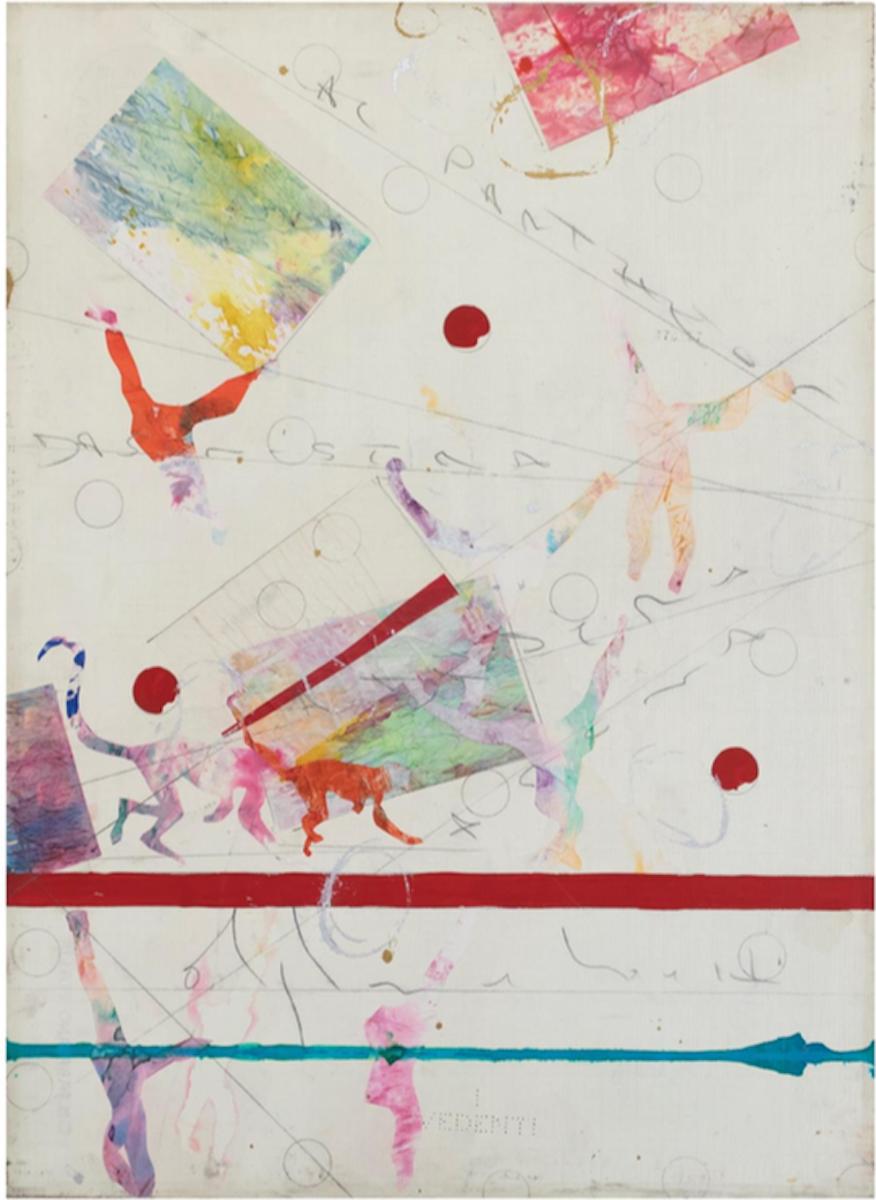 Alighiero Boetti, I vedenti, 1983, tecnica mista su carta intelata, cm 66x48