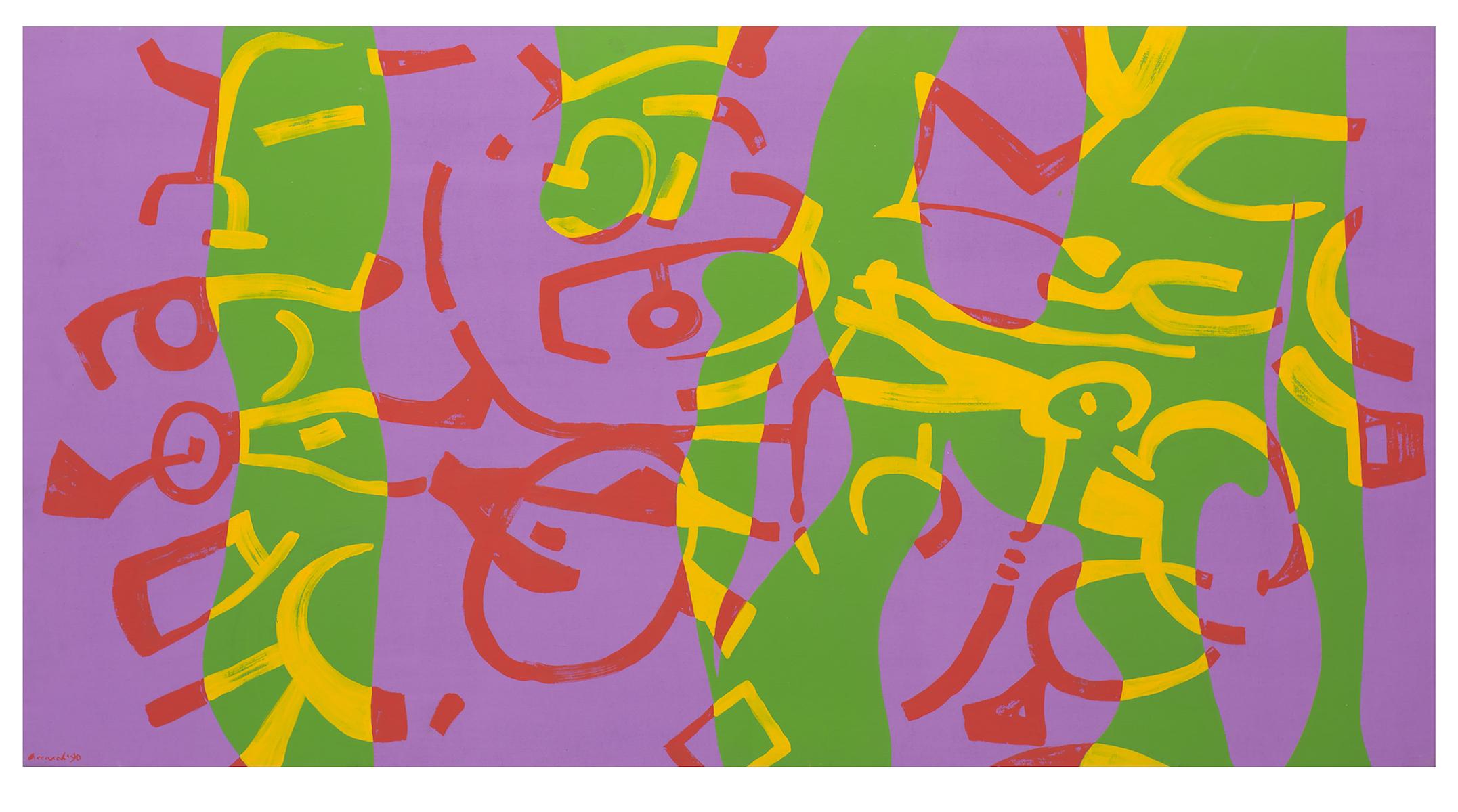 Carla Accardi, Colore beffardo e violetto, 1990, olio su tela, cm 120x230