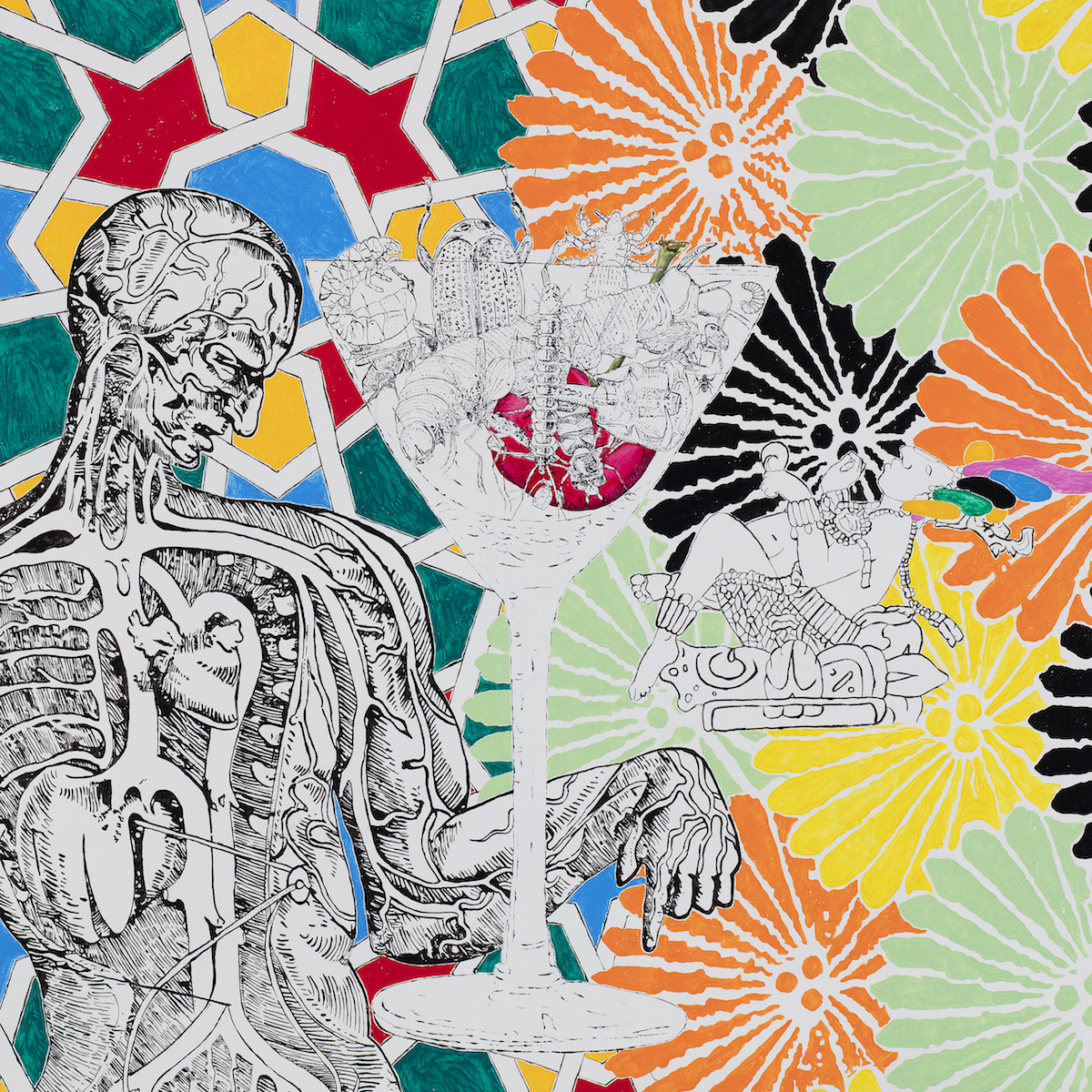 Maurizio Cannvacciuolo, Cum grano solis , 2019, olio su tela, cm 90x90