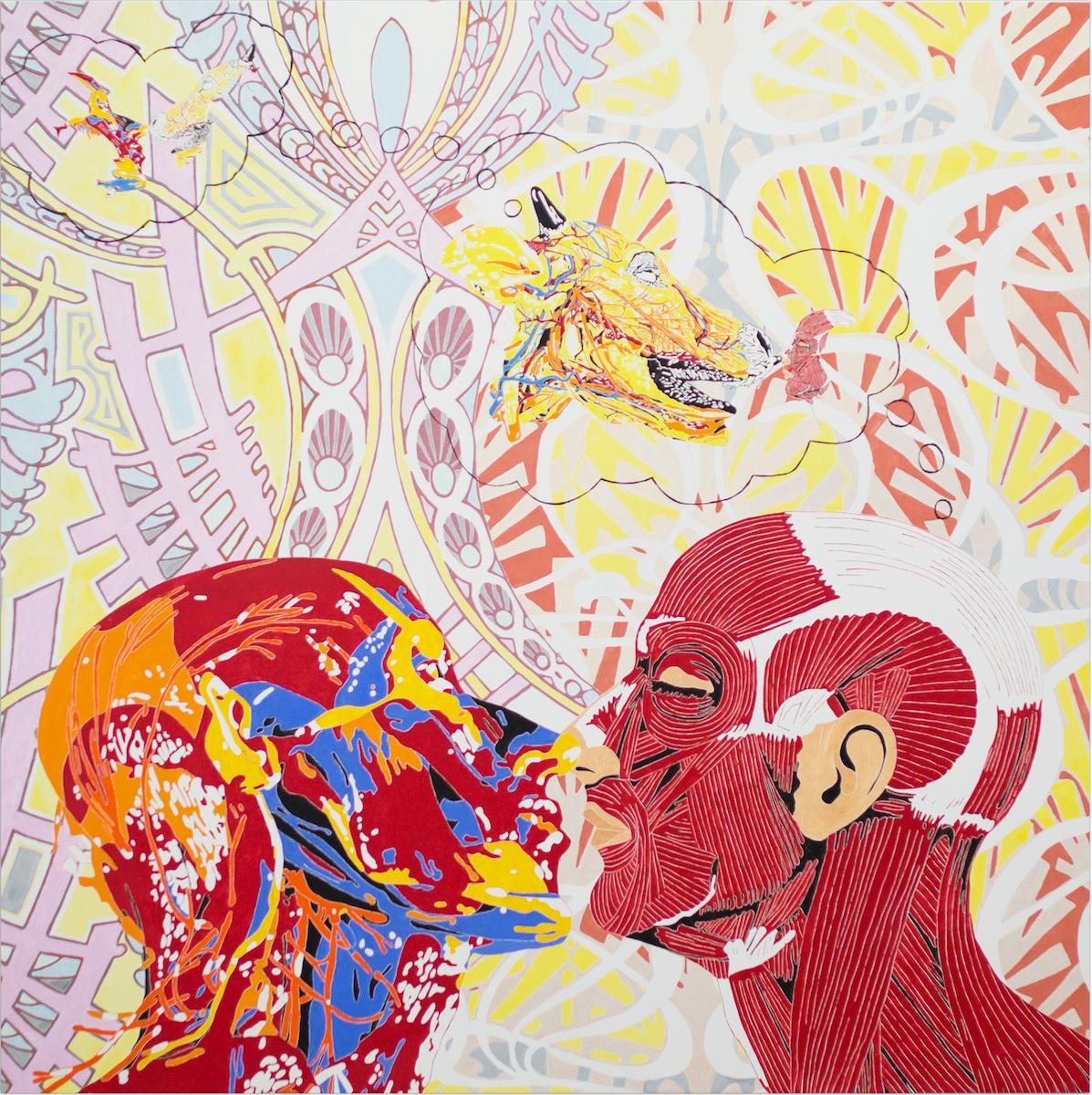 Maurizio Cannavacciuolo, Dreaming of Cheating, 2015, olio e smalto ad acqua su tela, cm 200x200