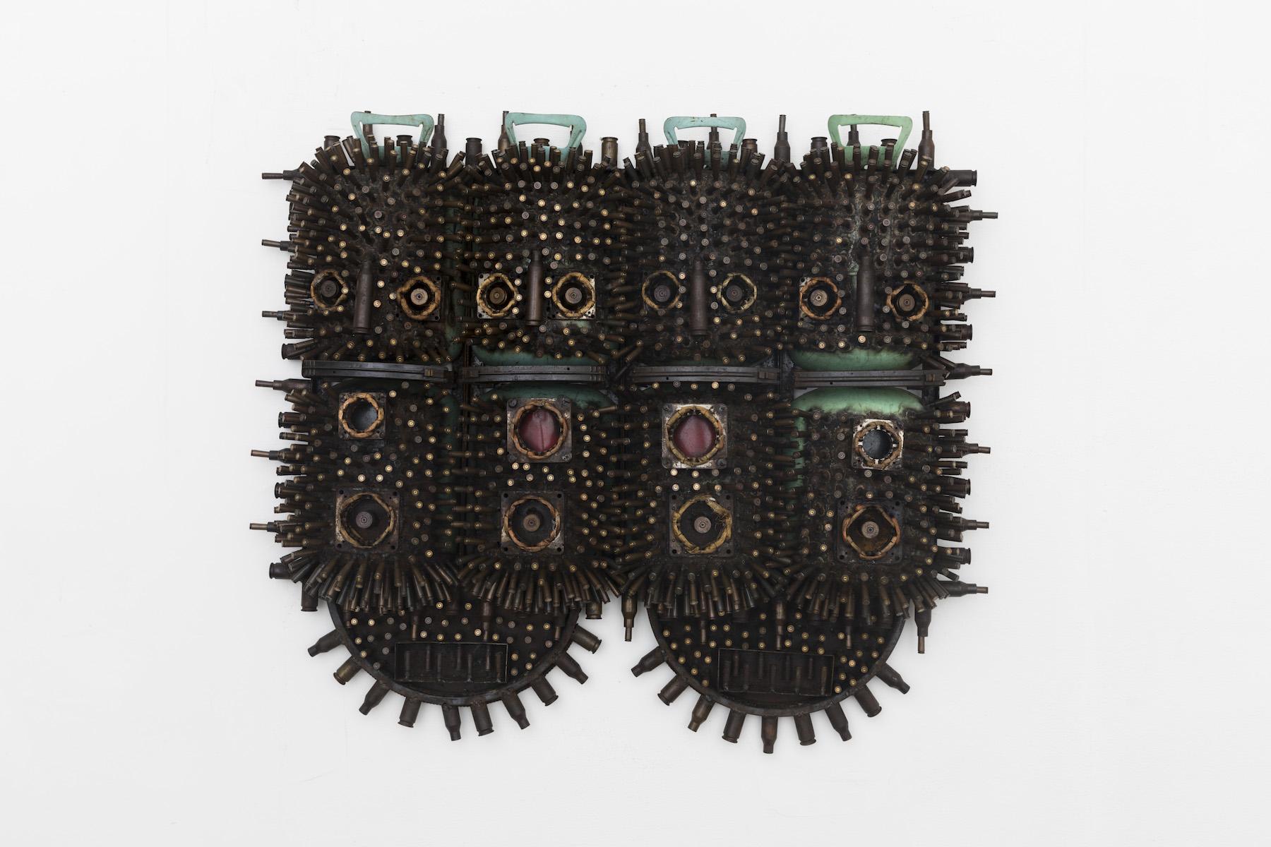 Gonçalo Mabunda, Untitled (Masks), 2018-2019, tecnica mista, cm 102x125