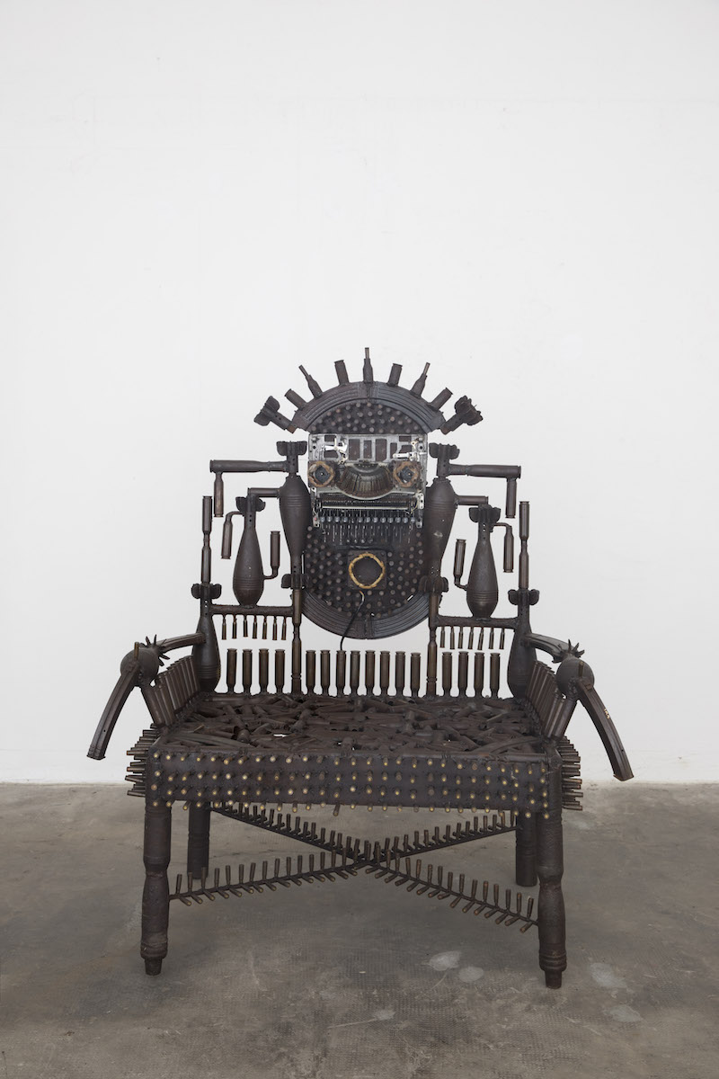 Gonçalo Mabunda, Untitled (Throne), 2018-2019, tecnica mista, cm 130x110x74