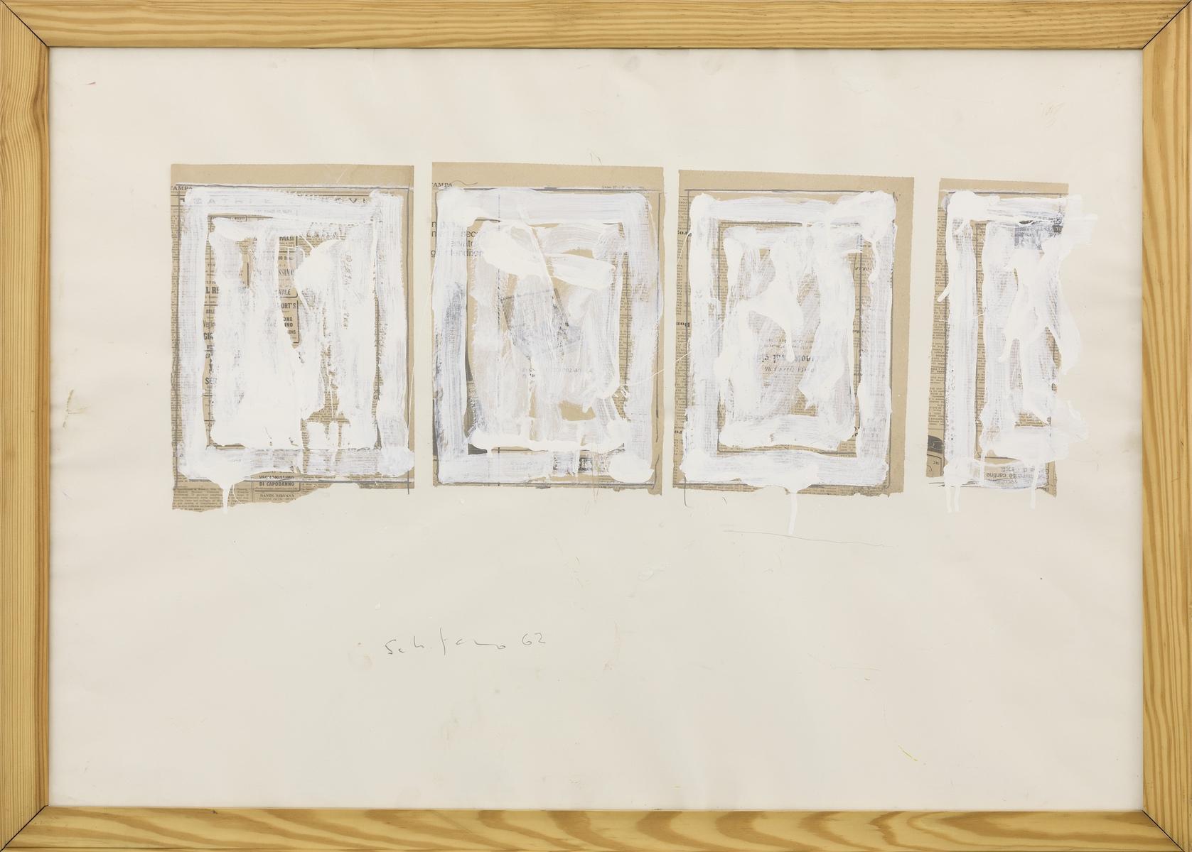 1962, collage e smalto su carta, cm 70x100