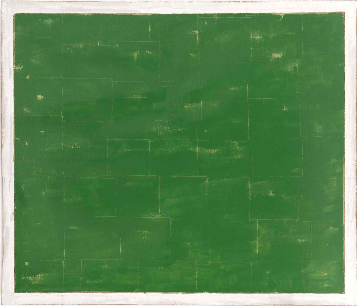 1975, smalto su carta applicato su tela, cm 128x150