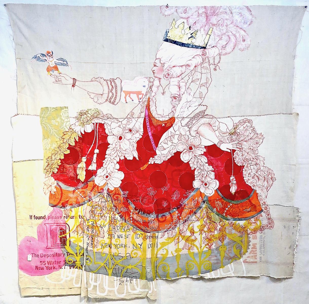 Michela Martello, Tokcha Talismana, 2017, tessuti vintage, ricamo, pigmenti indiani, acrilico, cina marker e collage, cm 196x214