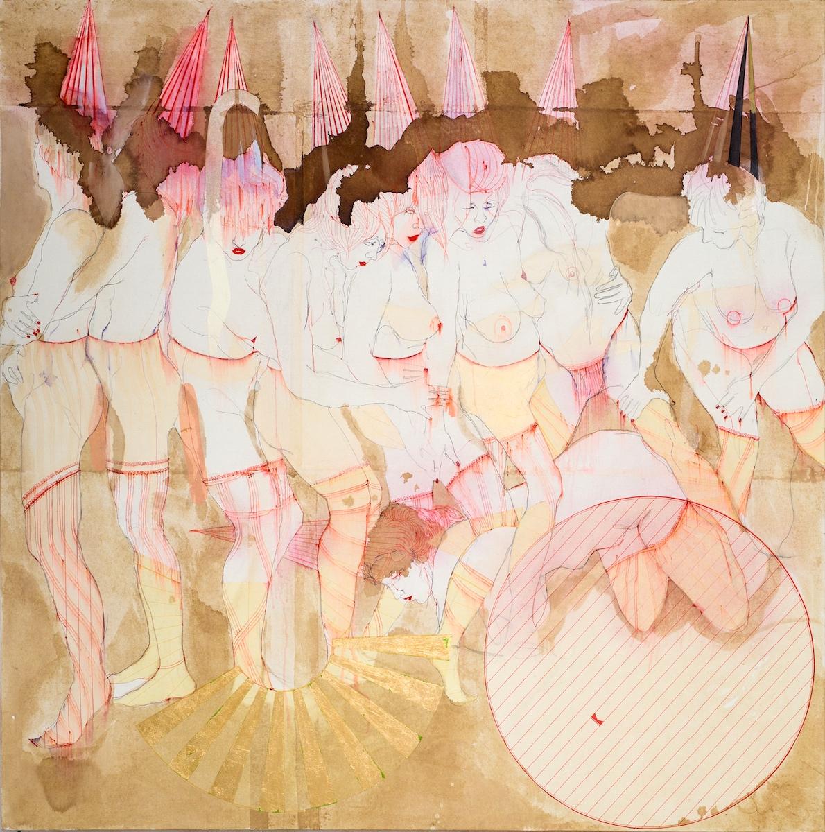 Elena Monzo, Cheerleading, 2017, tecnica mista su tela, cm 150x150