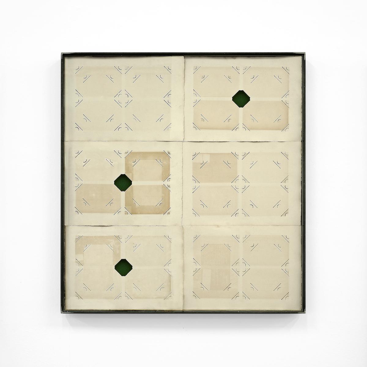 Jacopo Mazzonelli, [S]ancte, 2019, pagine di album fotografici, velluto, ferro e vetro, cm 78x74