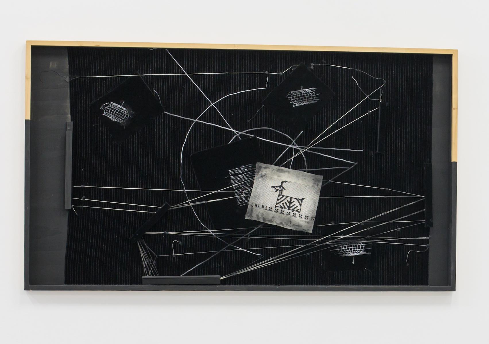 Maria Lai, Geografia nera con capretta sulla montagna, 2009, legno ricamo e filo di lana su velluto, cm 98x170