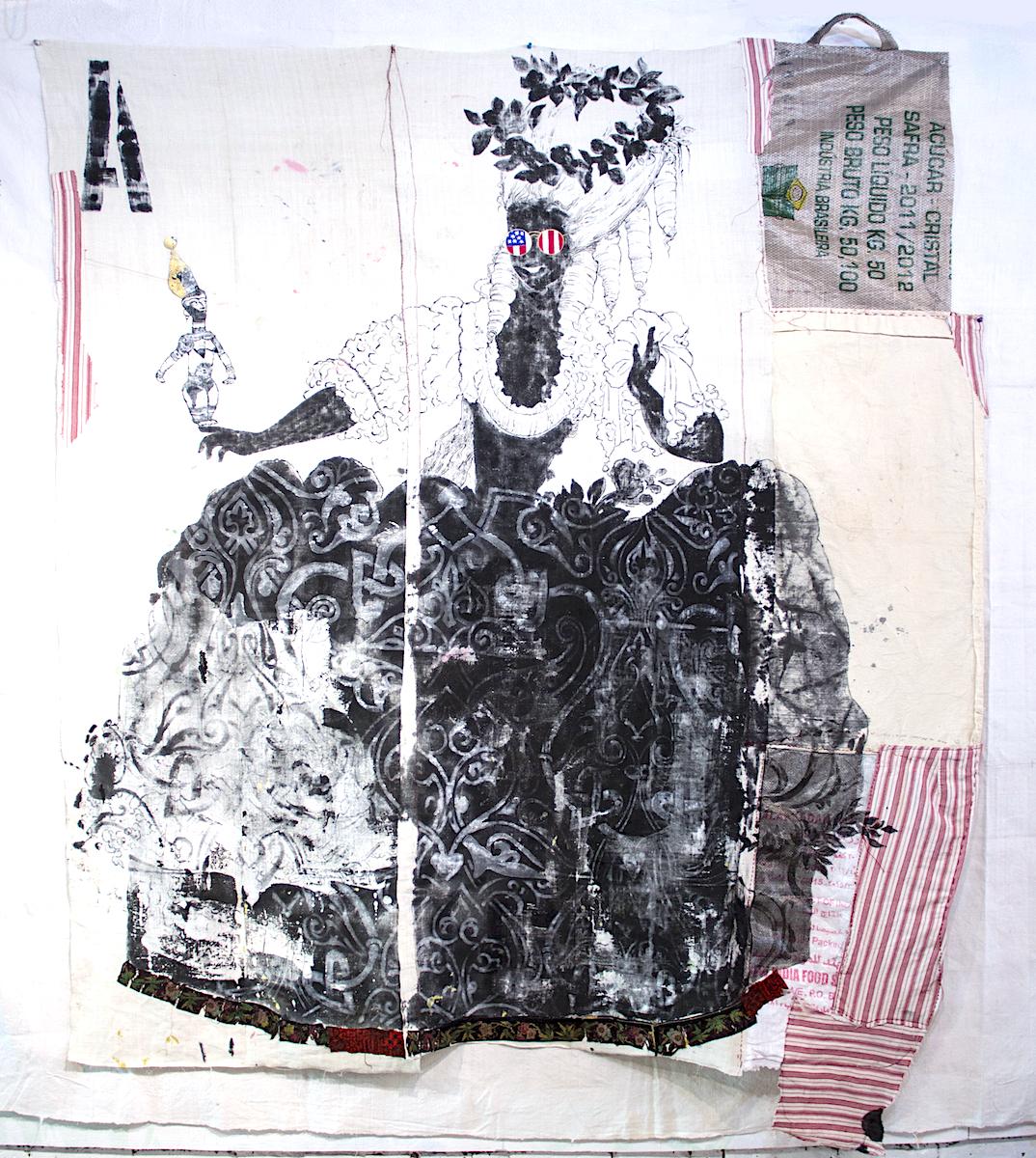 Michela Martello, Sister, 2017, tessuti vintage, inchiostro Sumi e gesso, cm 189x230