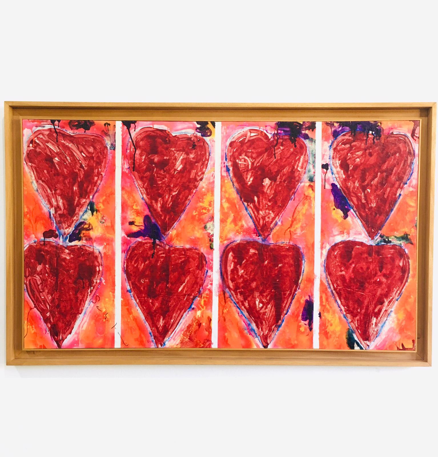 Mario Schifano, Senza titolo (cuori), 1979-81, smalto e pastello su tela, cm 95x169