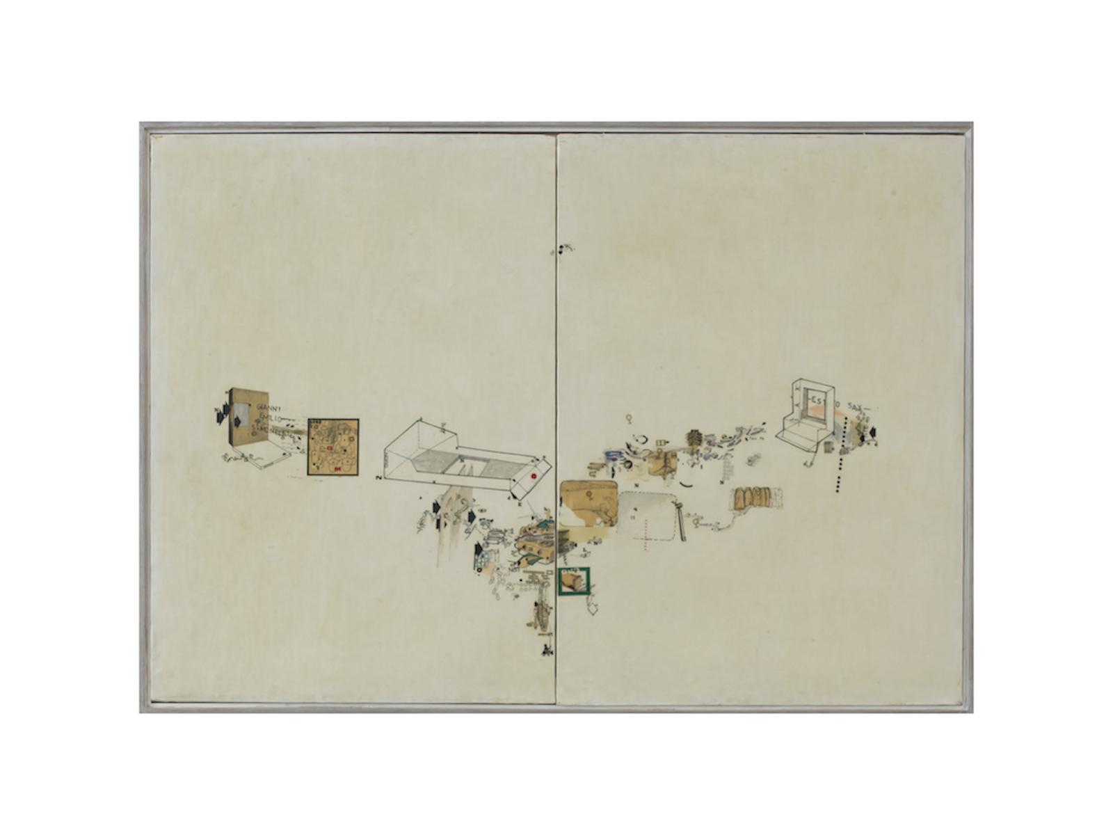Simonetti, ES (to) SAY, 1966, tecnica mista su tela, cm 70x100